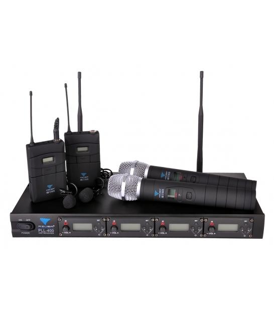 Mikrofon PLL-400 UHF 4 kanały (2 do ręki+2 na klip)