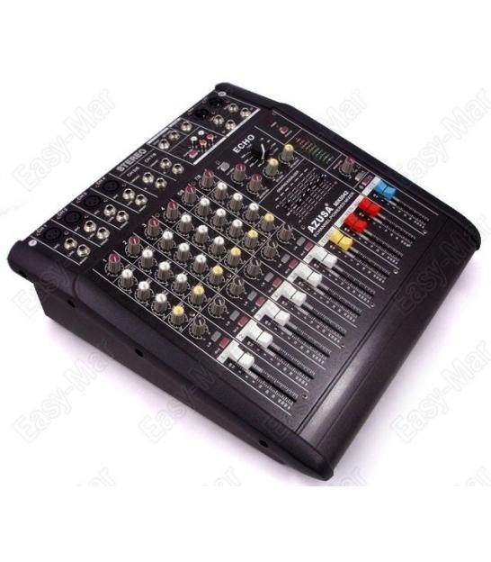 8 kanałowy powermikser PMQ-2108 z wbudowanym wzmacniaczem 2x240W