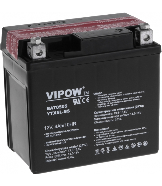 Akumulator do motocykli VIPOW 12V 4Ah YTX5L-BS