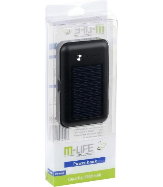 Power bank z ładowaniem solarnym M-LIFE ML0686 6000mAh