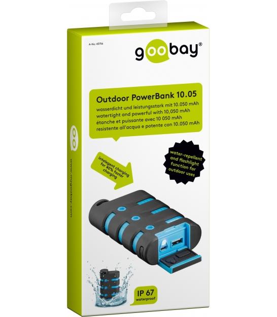 PowerBank 10050mAh Goobay wodoodporny z kablem ładującym 0,7m