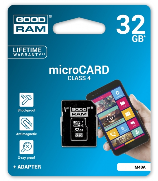 Karta pamięci microSD 32GB class 4 Goodram z adapterem