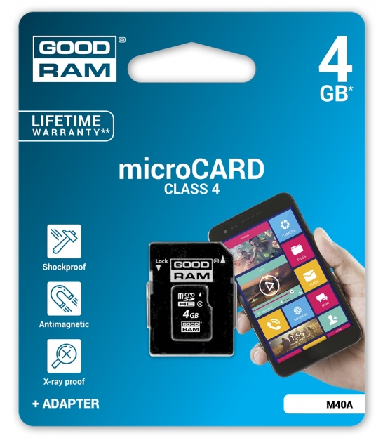 Karta pamięci microSD 4GB class 4 Goodram z adapterem