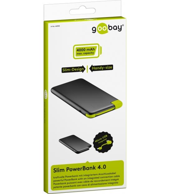 PowerBank 4000mAh Goobay Slim ze zintegrowanym kablem ładującym