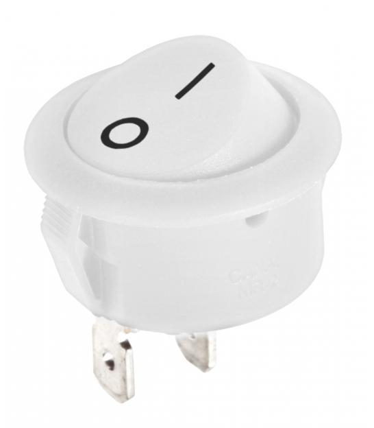 Złącze przełącznik kołyskowy okrągły R5 0-1 biały 10A/250V