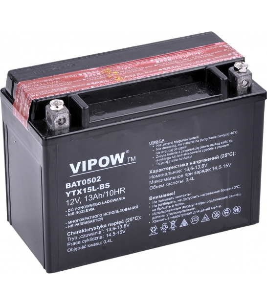 Akumulator do motocykli VIPOW 12V 13Ah YTX15L-BS