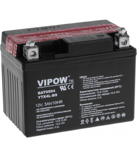 Akumulator do motocykli VIPOW 12V 3Ah YTX4L-BS
