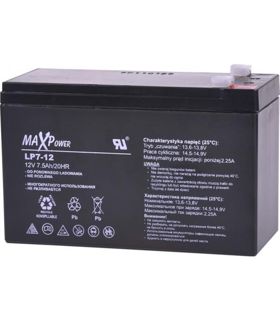 Akumulator żelowy 12V 7Ah MaxPower
