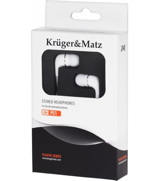 Słuchawki przewodowe douszne białe Kruger&Matz KMP01