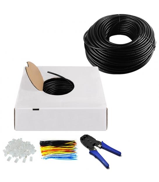 Kabel instalacyjny zewnętrzny (drut) CAT 6 U/UTP CCA 305m czarny (zestaw)