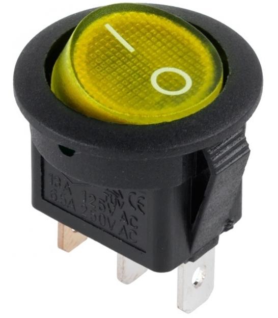 Złącze przełącznik 230V podświetlany żółty