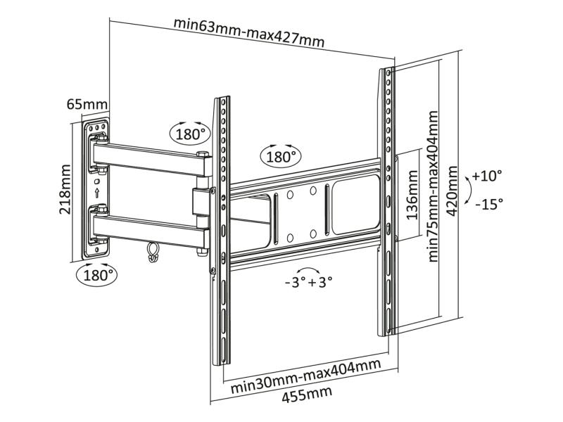 Výsledek obrázku pro Uchwyt do ściany 32-55 cali czarny LPA52-443 (regulacja w pionie i w poziomie)