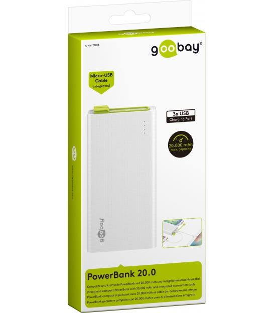 PowerBank 20000mAh Goobay ze zintegrowanym kablem ładującym