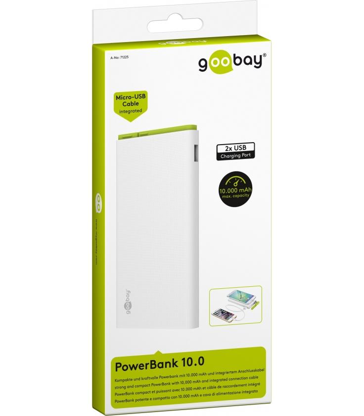 PowerBank 10000mAh Goobay ze zintegrowanym kablem ładującym