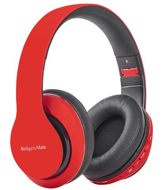 Bezprzewodowe słuchawki nauszne Kruger&Matz model Street 2 Wireless, kolor czerwony