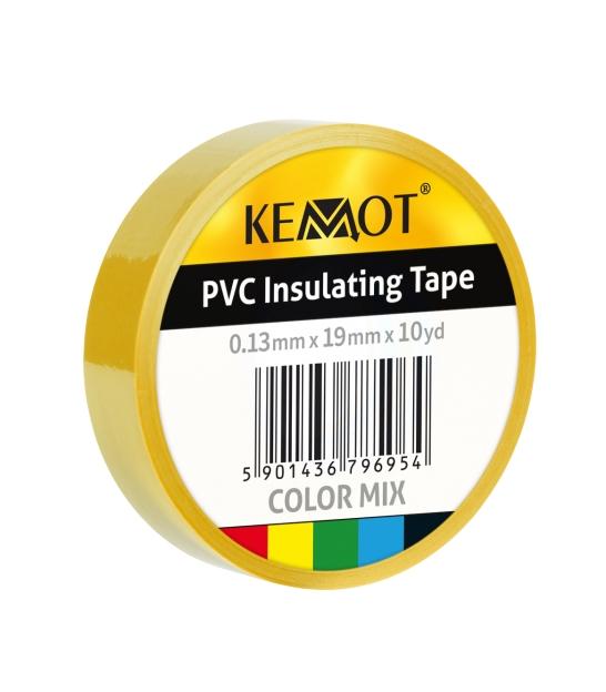 Taśma izolacyjna KEMOT 0,13x19x10Y klejąca żółta