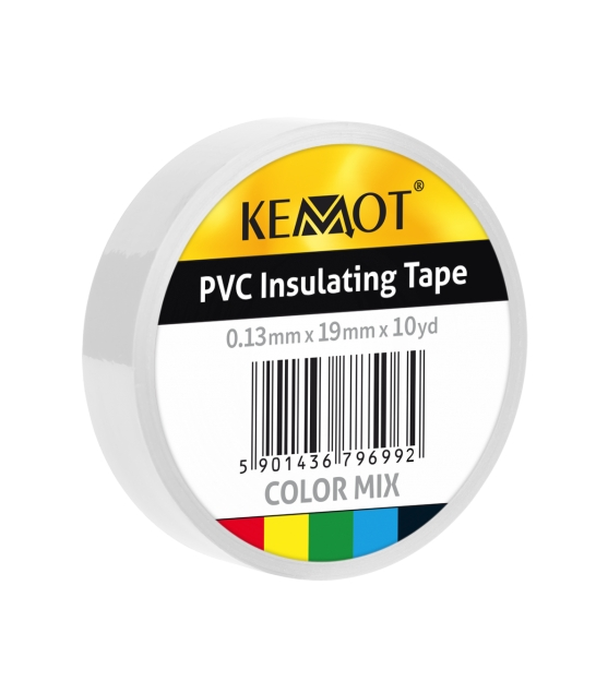 Taśma izolacyjna KEMOT 0,13x19x10Y klejąca biała