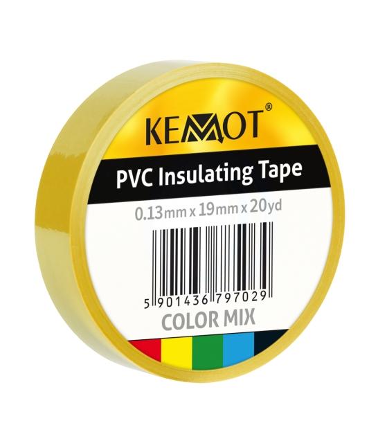 Taśma izolacyjna KEMOT 0,13x19x20Y klejąca żółta