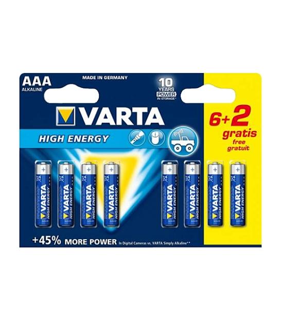 Bateria alkaliczna VARTA LR03 HIGH ENERGY 8szt./bl.