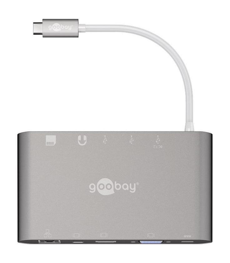 Adapter USB-C™ / 3x USB 3.0, HDMI, Mini DisplayPort, VGA, RJ45, SD/MMC i Micro SD, Jack 3,5mm, Power Deliver