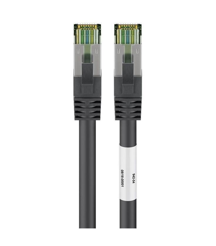 Kabel Patchcord CAT 8.1 S/FTP PIMF RJ45/RJ45 0,25m czarny