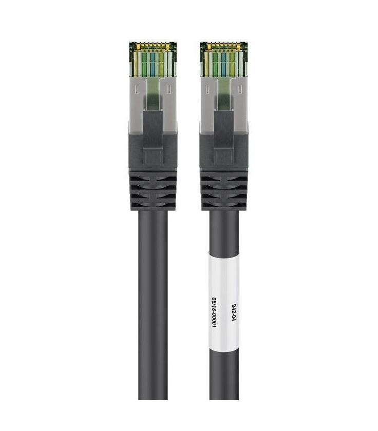 Kabel Patchcord CAT 8.1 S/FTP PIMF RJ45/RJ45 25m czarny