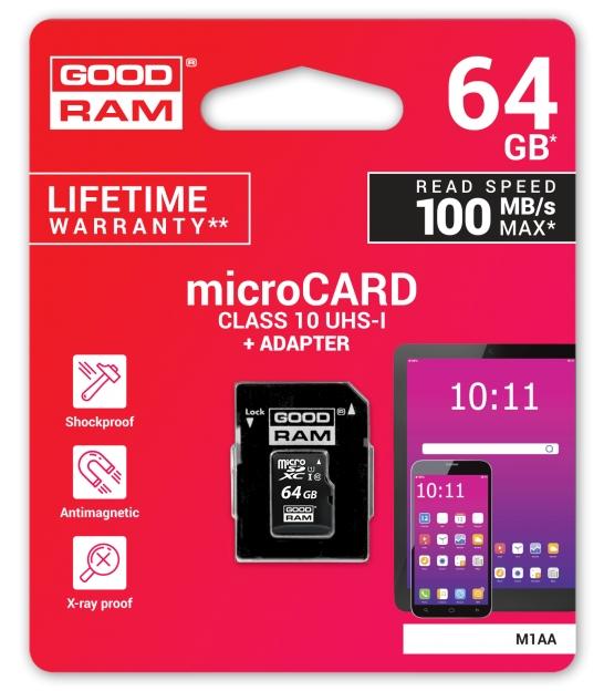 Karta pamięci microSD 64GB UHS-I Goodram z adapterem