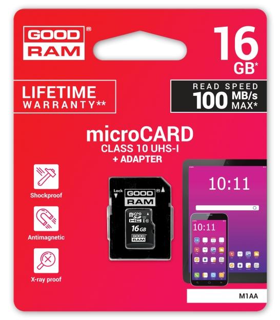Karta pamięci microSD 16GB UHS-I Goodram z adapterem