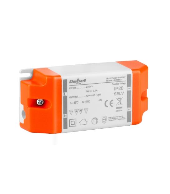 Zasilacz REBEL do sznurów diodowych LED 12V 1A (YSL12-1201000) 12Watt max.