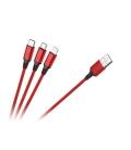 Kabel USB 3w1 microUSB, USB typu C, Lightning 100 cm