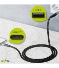 Kabel tekstylny USB-C ™ / USB-A z metalowymi wtyczkami 0,5m Goobay