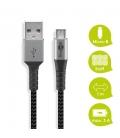Kabel tekstylny Micro USB / USB-A z metalowymi wtyczkami 1m Goobay