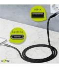 Kabel tekstylny iPhone Lightning / USB-A z metalowymi wtyczkami 2m Goobay