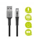Kabel tekstylny Micro USB / USB-A z metalowymi wtyczkami 2m Goobay
